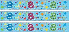 AGE 8/ 8TH BIRTHDAY BOY BLUE FOIL BANNERS (SE)