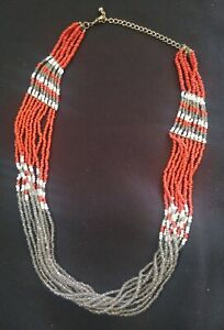 VINTAGE NATIVE AMERICAN STYLE CORAL COLOR SEED BEAD BEADED LAYERED NECKLACE