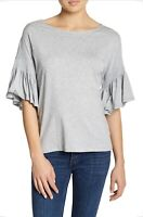 14th and Union Shirt Small Grey Ruffle Sleeve