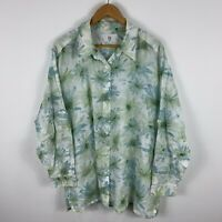 BIB Womens Blouse Top 22 Plus Green Floral Long Sleeve Button Closure Collared