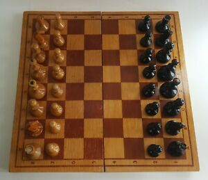 Vintage russian, completely wooden chess set. Made in USSR in in 1953 .