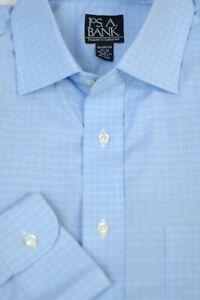 Jos A Bank Men's Travelers Light Blue Check Cotton Dress Shirt 16.5 x 32