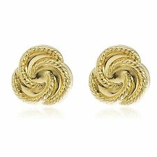 Real 14k Yellow Gold 9mm Rope Knot Stud Earrings with Silicone Back