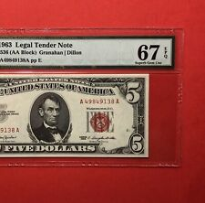 1963-$5 RED SEAL LEGAL TENDER NOTE,GRADED BY PMG , SUPERB GEM UNC 67 EPQ.
