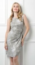 Stunning ROMAN ORIGINALS Silver Metallic Dress Size 20 NWT Cocktail Party Cruise