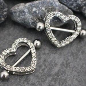 2x Silver Heart Double Layer Rhinestone Sexy Piercing Nipple Bars Body Jewellery