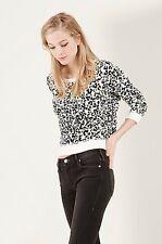 True Religion Jeans NEON SNOW LEOPARD PULLOVER hi-lo SWEATSHIRT NWT $139 S