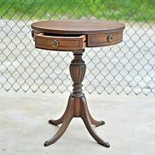 Antique Mahogany Drum Table Claw Feet Drawers Duncan Phyfe Federal  Style Round