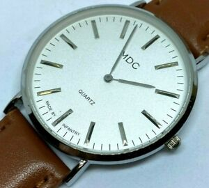 Clean MDC By Infantry Mens Silver Leather Analog Quartz Watch Hours~New Battery