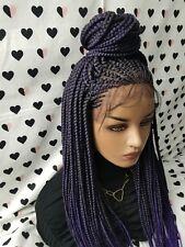Fulani Braids Braided Lace Front Wig Box Braid Braidwig With Cornrows 1b/Purple