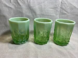 Vintage LG Wright  Mosser glass green opalescent fruit leaves pattern Tumblers