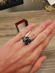 925er Saphir Zirkonia Ring Cocktail Ring massiv