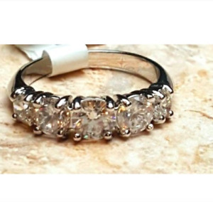 Ladies Silver Plated Promise Anniversary Ring CZ Sizes 5 6 5 Stones