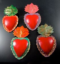 Sacred Heart Milagros Tin Ornaments Mexican Hand Made Folk Art Four Wall Hanging