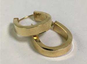 """Estate 14k Yellow Gold U Shaped Hoop Earrings .75"""" L"""