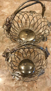 2 Vintage Godinger Silver Plated Woven Wire Baskets Grapes and Leaf Design