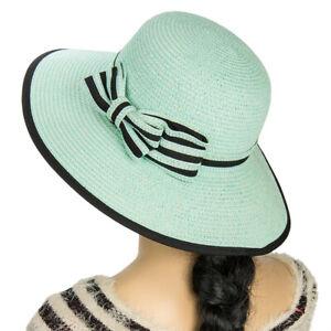 Aerusi Women Lady Panama Floppy Straw Wide Brim Sun Summer Beach Hat Bowknot Cap