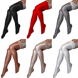 Women's Shiny Glossy Lace Stay Up Stretchy Thigh High Stockings Non-slip Hosiery