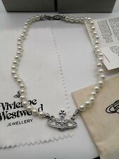 Vivienne Westwood silver mini bas Orb Pearl Choker Necklace