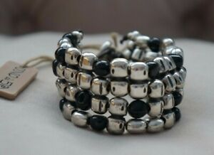 "NWT Uno De 50 Black Murano Glass FLUYENDO 1.5"" Thick Silver Bracelet 7"""