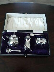 Solid Silver Cruet Salt & Mustard Pots, Liners, pepper Walker & Hall B'ham 1919