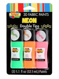3D Scribbles Double Paint Tips 3 Pack Fabric Clothing Art Craft: Neon or Pastel
