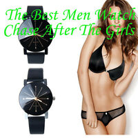 NEW Luxury Womens Mens Watch Quartz Big Dial Leather Wrist Watch Couple Watches