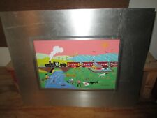 Vtg Folk Art Portrait on Sheet Metal Outsider Portrait of train scenic V Ludmila