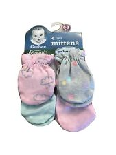 Gerber Baby Girl 4-Piece ORGANIC Clouds/Dots Mittens Size 0-3M Pink Grey Stripes
