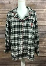 Chaps Womens Button Down Pajama Shirt Large Black White Red Plaid Sleepwear C16