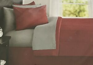 Full Size Comforter Set 8 Pieces Burgandy Red Bed in a Bag Soft Bedding Comfort