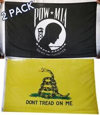 (2 Pack Lot) 3x5 Gadsden Tea Party & Pow Mia Flag 3'x5' Banner Brass Grommets