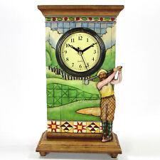 "Jim Shore Golfer 9.25"" Mantle Clock Figurine 4005226 Male Fairway Mint w/Tag"