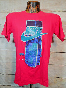 Vintage 90s NIKE Swoosh Tee Spellout Hot Pink T-Shirt M USA Single Stitch Rare