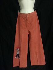 Vtg 70s Bell Buttom Pants Wide Leg High Waist RaggedyAnn Salmon Orange Hippy P/S