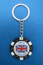 UNION JACK UK ENGLAND BRITISH FLAG POKER CHIP DICE KEYRING KEY RING #164W