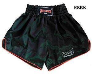 BOON SPORT BOXING SHORTS RETRO BLACK  S M L XL XXL MUAY THAI SHORTS MMA K1