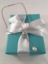 Tiffany & Co Silver Elsa Peretti Open Heart Pearl Lariat Necklace. RRP $620