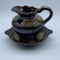 Vintage Red Ware Japan Brown Drip Glaze Small Pitcher And Base Bowl