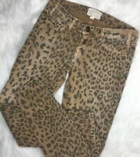 Current Elliott Stiletto Camel Leopard Print Skinny Ankle Jeans Womens Size 25