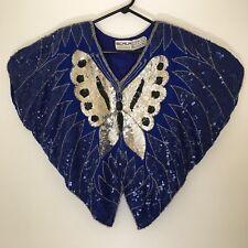 Vintage Scala Butterfly Sequin Top Womens Silk Blue Silver Eveningwear Disco