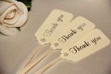10 IVORY THANK YOU FAVOUR TAGS SILVER FOIL PRINT WEDDING GIFT LABELS