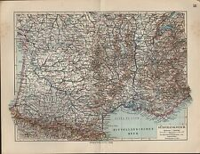 Landkarte map 1912: SÜDFRANKREICH. Maßstab: 1 : 2.600 000