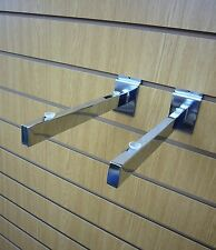 "14"" (350mm) Chrome Glass Shelf Bracket for slatwall SOLD IN PAIRS"