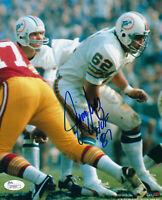 1972 DOLPHINS Jim Langer signed photo 8x10 w/ HOF 87 JSA COA AUTO Autographed