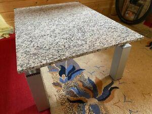 Couchtisch Beistelltisch Granitplatte Naturstein  Granit hell