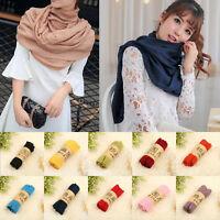 Women Cotton Linen Long Warm Scarves Soft Wrap Shawl Winter Warm Stole Sunproof