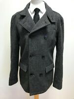 G759 MENS BEN SHERMAN GREY WOOL DOUBLE BREASTED COLLARED PEACOAT UK M EU 50