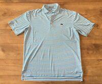 Peter Millar Summer Comfort Golf Polo Shirt White Blue Stripe Men's SZ M