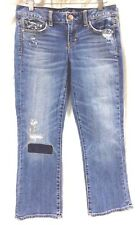 Womens American Eagle AE Jeans Crop Extreme Destroyed Stretch Size 4